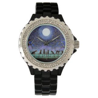 黒、猫、腕時計、分野、木、草原、景色 腕時計
