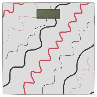 黒、白いおよび赤の抽象的な体重計 体重計