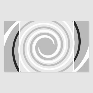 黒、白いそして灰色のねじれの設計 長方形シール