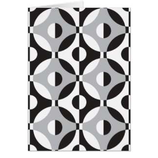 黒、白いそして灰色の幾何学的な円 カード