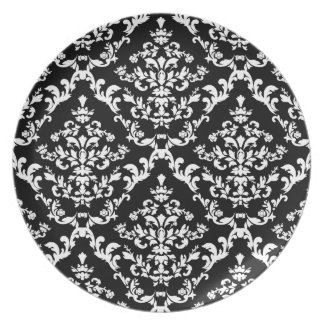 黒|白い|ダマスク織|パターン お皿