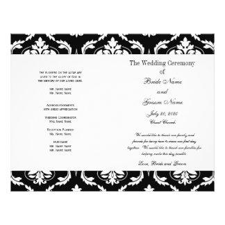 黒|白い|ヴィンテージ|ダマスク織|結婚|プログラム