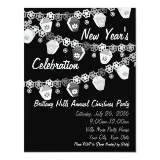 黒+白人のランタンの新年のパーティー カード