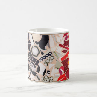 黒、白及びRed/TANのモザイクデザインのマグ コーヒーマグカップ