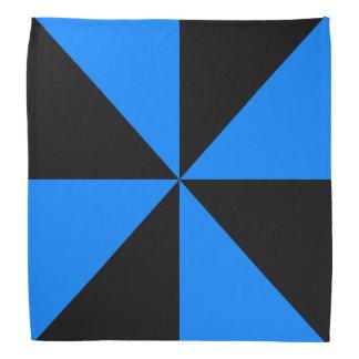 黒、紺碧の青い三角形の風車パターン バンダナ