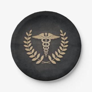 黒+金ゴールドのケリュケイオンの医学の記号の医者かナース ペーパープレート
