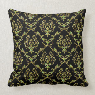 黒、金ゴールド及び緑のグリッターの花柄のダマスク織 クッション
