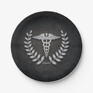 黒 + 銀製のケリュケイオンの医者パーティ ペーパープレート
