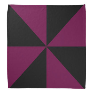 黒、Tyrian紫色の三角形の風車パターン バンダナ