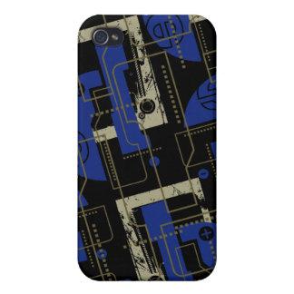 黒Iのテクノの青 iPhone 4/4S CASE