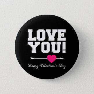 黒I愛バレンタインデーボタン 5.7CM 丸型バッジ