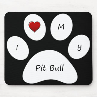黒I愛私のピット・ブルのマウスパッド マウスパッド