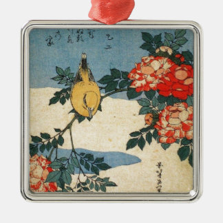 黒napedオリオールズおよび中国は上がりました(Hokusai著) メタルオーナメント