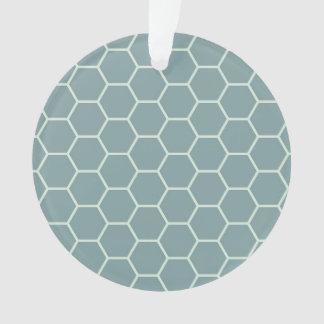 黙したティール(緑がかった色)の幾何学的な蜜蜂の巣の六角形パターン オーナメント