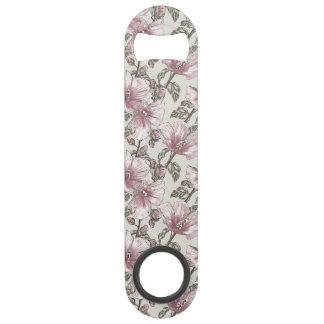 黙したピンクのハイビスカスの花模様 スピードボトルオープナー