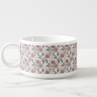 黙したピンクのハイビスカスの花模様 チリボウル