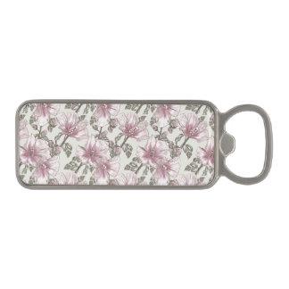 黙したピンクのハイビスカスの花模様 マグネット栓抜き