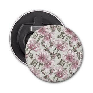 黙したピンクのハイビスカスの花模様 栓抜き