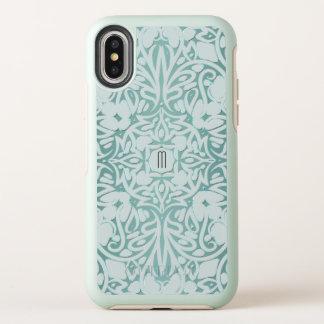 黙した緑のモノグラムの種族の曼荼羅 オッターボックスシンメトリー iPhone X ケース