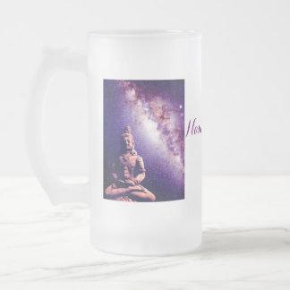 黙想の仏の銀河系の宇宙の平和愛芸術 フロストグラスビールジョッキ