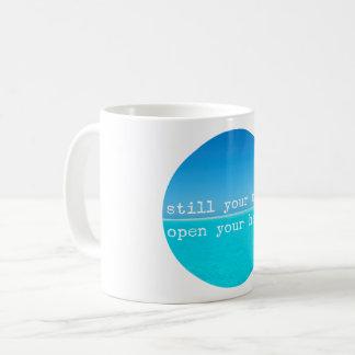 黙想の意識する引用文: まだ心、開いたハート コーヒーマグカップ