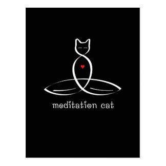 黙想猫-ファンシーなスタイルのテキスト ポストカード
