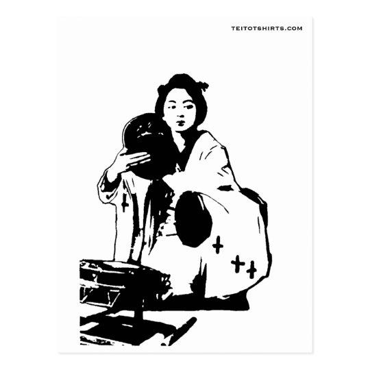 鼓を打つ芸妓 Geisha hitting tsudzumi ポストカード