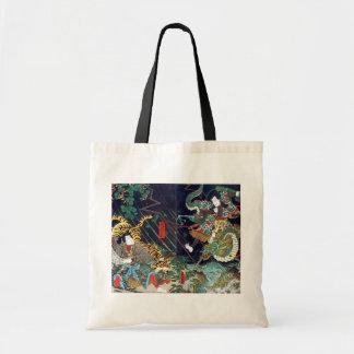 龍虎、豊国のドラゴン及びトラ、Toyokuni、Ukiyo-e トートバッグ