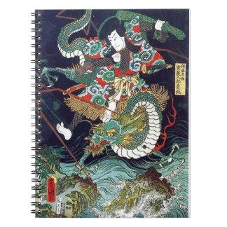 龍虎、豊国のドラゴン及びトラ、Toyokuni、Ukiyo-e ノートブック