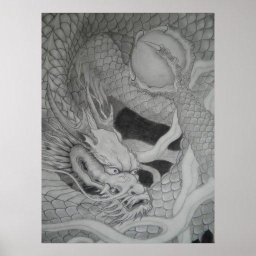 龍 dragon 水墨画 降り白龍 ポスター