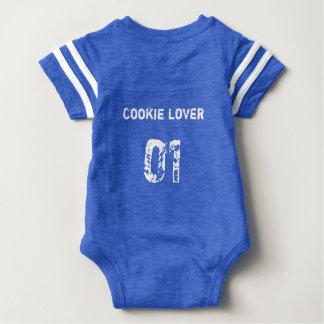 01堅いクッキーのクッキーの恋人のベビーのフットボールジャージー ベビーボディスーツ