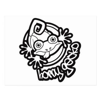01角質のヤモリのロゴb/w ポストカード
