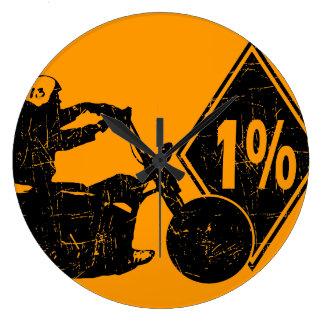 0413032011バイクもしくは自転車に乗る人1%の苦脳 ラージ壁時計