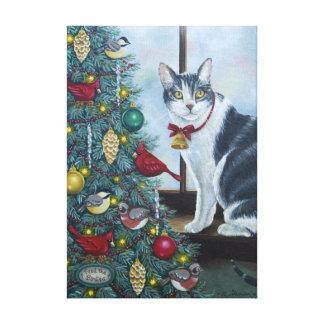 0417猫及びクリスマスツリーのキャンバスプリントのプリント キャンバスプリント