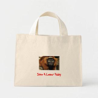 080725赤いruffed 02、Lemurを今日救って下さい ミニトートバッグ