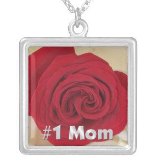 #1お母さんの赤いバラのネックレス シルバープレートネックレス