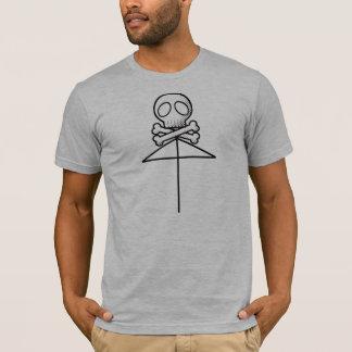 1つのスカルの傘の黒 Tシャツ
