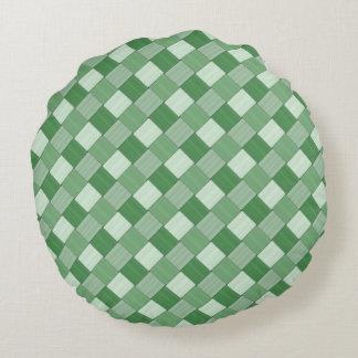1つのタイルを張られた春の緑によって編まれる格子縞に付き2つ ラウンドクッション