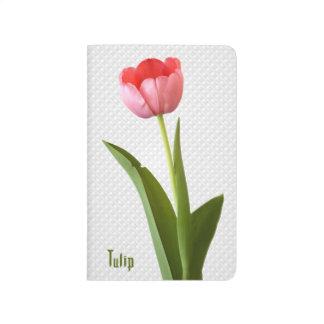 1つのピンクの春のチューリップの自然の花柄の写真 ポケットジャーナル