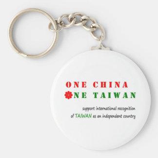 1つの中国; 1台湾 ベーシック丸型缶キーホルダー