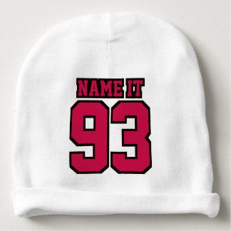 1つの側面の帽子の白い深紅色の黒いフットボールジャージー ベビービーニー
