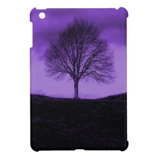 1つの単独木のシルエットの紫色の自然の景色 iPad MINI カバー