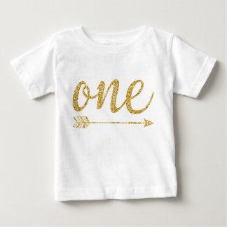 1つの歳の金グリッタープリント ベビーTシャツ
