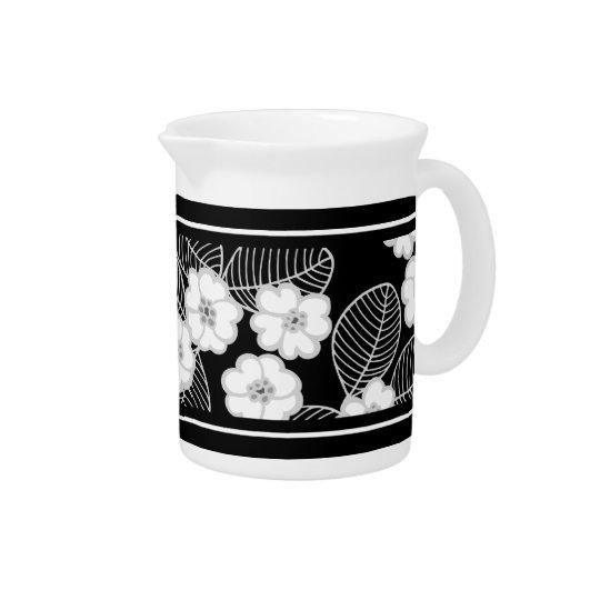 1つの水差しのダマスク織の花の灰色の白黒 ピッチャー