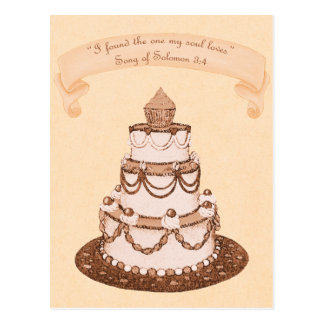 1つの精神のLoves~Weddingのケーキの聖なる書物、経典を見つけました ポストカード