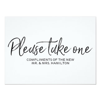 """""""1つの""""結婚式の引き出物によって文字を入れられる印を取って下さい 16.5 X 22.2 インビテーションカード"""