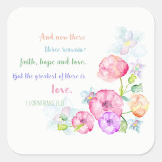1つのcorinthiansの13:13愛は最も素晴らしいです スクエアシール