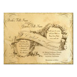 1つを結婚する茶によって汚されるヴィンテージ-招待状の招待 カード