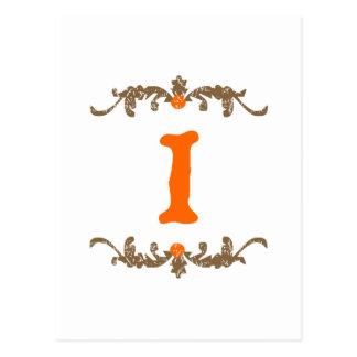 #1オレンジ及びブラウンスクロール ポストカード