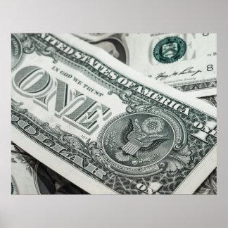 1ドル札のお金のマクロ終わり ポスター